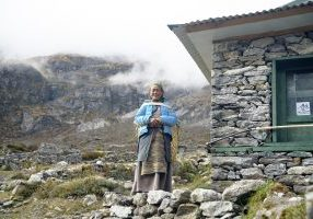 a local woman in the mountains of Nepal, the Himalayas, the village of Na, May 2018